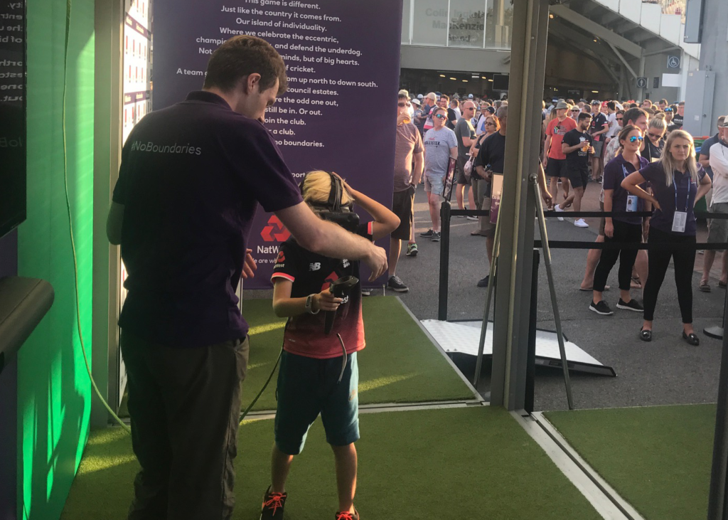 VR Cricket Game on stand at event